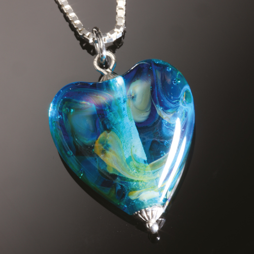 Photo of blue heart dna necklace