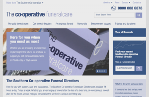 Screen shot of Southern Co-operative Funeralcare home page